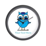 Personalized Blue Owl Wall Clock