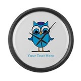 Personalized Blue Owl Large Wall Clock