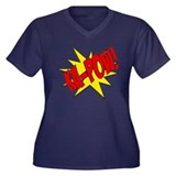 pow, kapow, ka-pow Women's Plus Size V-Neck Dark T