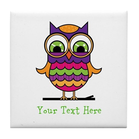 Customizable Whimsical Owl Tile Coaster by 1512boulevard