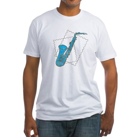 Blue Saxophone Fitted T-Shirt