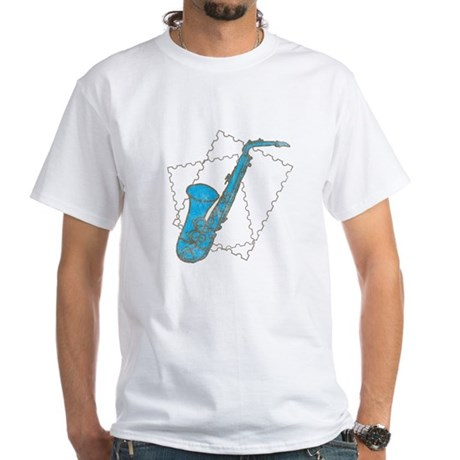 Blue Saxophone White T-Shirt