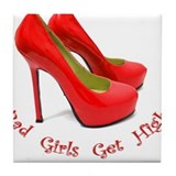 Funny Red high heels Tile Coaster