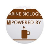 Marine Biologist Powered by Coffee Ornament (Round