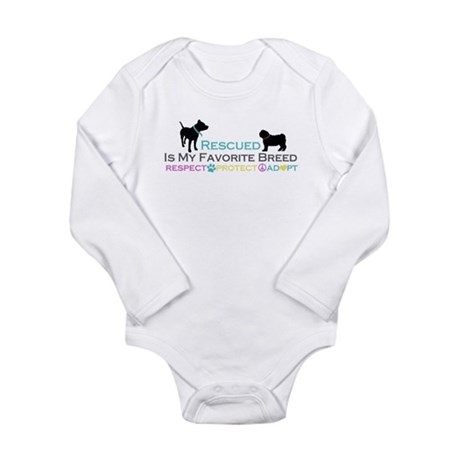 Rescued Is Favorite Breed Long Sleeve Infant Bodys