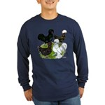Four Crested Chickens Long Sleeve Dark T-Shirt