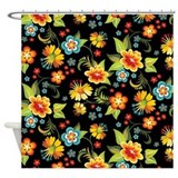 Black Spring Shower Curtain