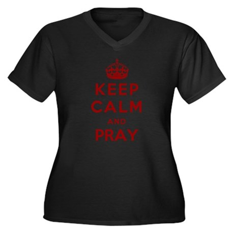 Pray Women's Plus Size V-Neck Dark T-Shirt