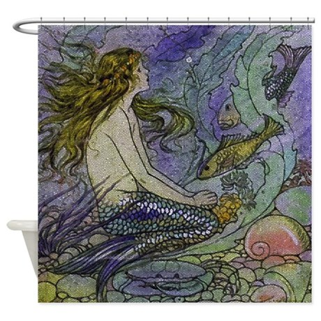 blue mermaid shower curtain