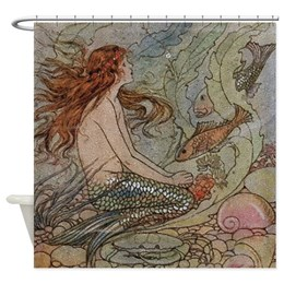 antique mermaid shower curtain