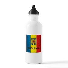 Romania Grunge Flag Water Bottle