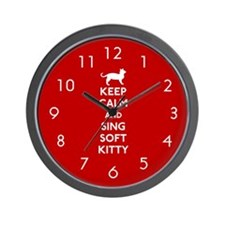 Keep Calm and Sing Soft Kitty Wall Clock