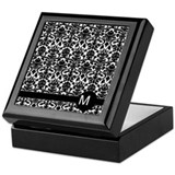damask pattern monogram Keepsake Box