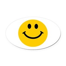 Yellow Smiley Face Oval Car Magnet