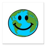 Smiling Earth Smiley Square Car Magnet 3