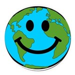 Smiling Earth Smiley Round Car Magnet