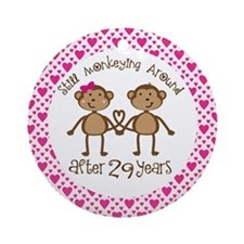 29th Anniversary Love Monkeys Ornament (Round)