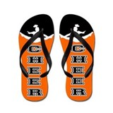 Cheer Black and orange Flip Flops