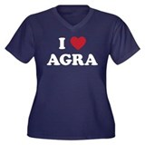 I Love Agra Women's Plus Size V-Neck Dark T-Shirt