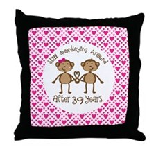 39th Anniversary Love Monkeys Throw Pillow