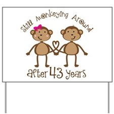 43rd Anniversary Love Monkeys Yard Sign