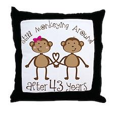 43rd Anniversary Love Monkeys Throw Pillow