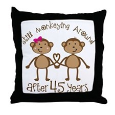 45th Anniversary Love Monkeys Throw Pillow