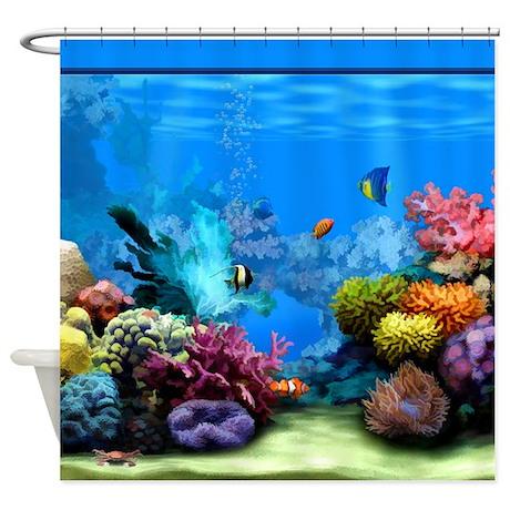 ... Bathroom Decor > Tropical Fish Aquarium with Bright Colored Coral S