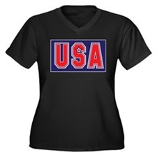 USA w STAR Women's Plus Size V-Neck Dark T-Shirt