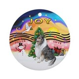 Collie christmas blue merle Round Ornaments