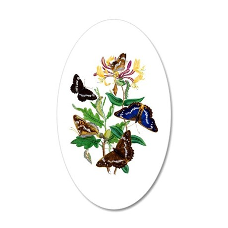 Butterflies and Honeysuckle 20x12 Oval Wall Decal