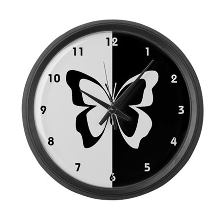 Black And White Butterfly Large Wall Clock By Newlookgifts