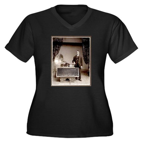 The Phonograph Women's Plus Size V-Neck Dark T-Shi