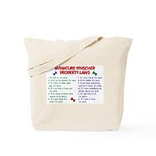 Miniature Pinscher Property Laws Tote Bag
