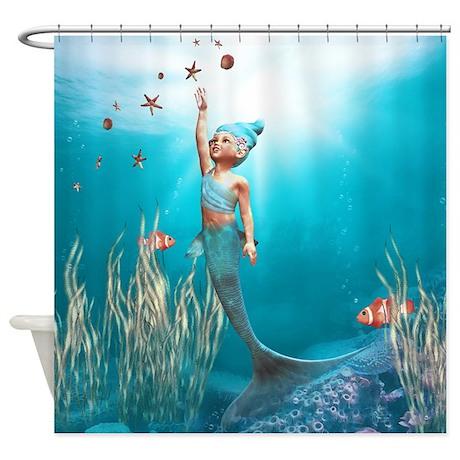 Cute mermaid 1 shower curtain by gatterwe - The little mermaid bathroom decor ...