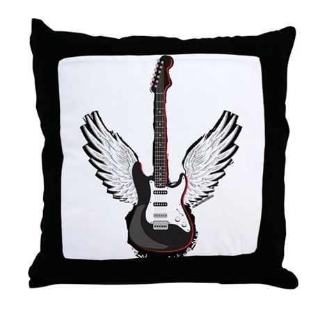 Winged Guitar Throw Pillow