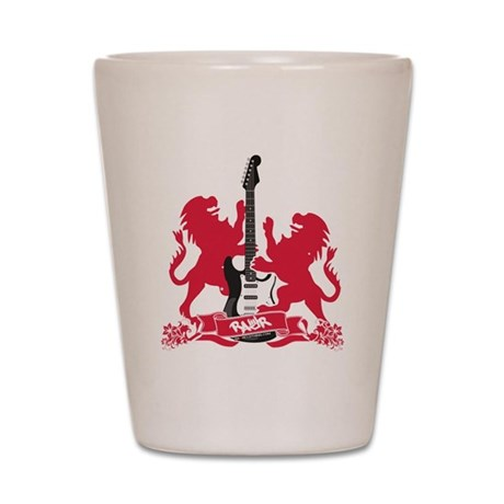 Rock Lion Guitar Crest Shot Glass