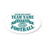 PERSONALIZED FANTASY FOOTBALL TEAL Oval Car Magnet