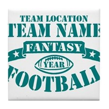 PERSONALIZED FANTASY FOOTBALL TEAL Tile Coaster