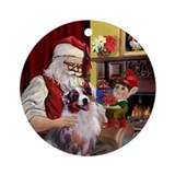 Santa's Australian Shepherd (m) Ornament (Round)