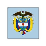 "Colombia Coat Of Arms Square Sticker 3"" x 3"""