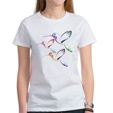 Patchwork Trio of Hummingbirds Tee