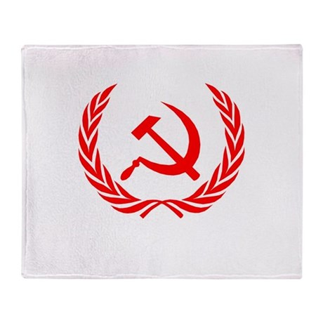 Soviet Wreath Red Throw Blanket