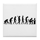 Computer office evolution Tile Coaster