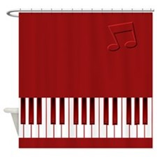 Keyboard on Red Shower Curtain