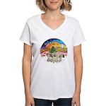 XMusic2 - Three Cairns Women's V-Neck T-Shirt