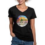 XMusic2 - Three Cairns Women's V-Neck Dark T-Shirt