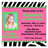 Zebra Pink Green Birthday Invitation 5.25 x 5.25 F