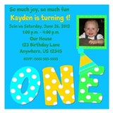First Birthday Boy Invitation 5.25 x 5.25 Flat Car