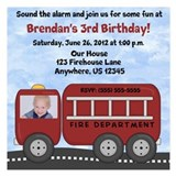 Fire Truck Birthday 5.25 x 5.25 Flat Cards